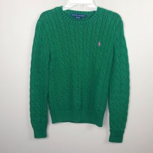 Ralph Lauren Green Crew Neck Cable Knit Sweater